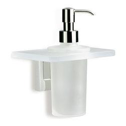 StilHaus - Wall Mounted Frosted Glass Soap Dispenser - Modern design bathroom wall liquid gel dispenser.