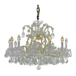 "Inviting Home - Maria Theresa Crystal Chandeliers (Premium Crystal), Select Crystal - clear and gold Maria Theresa style crystal chandelier; 32"" x 25""H (13 lights); assembly required; 13 light select clear crystal chandelier with hand-molded arms frosted crystal components and cut crystal trimmings; all metal parts have gold finish; genuine Czech crystal; * ready to ship in 2 to 3 weeks; * assembly required; This chandelier is a part of Maria Theresa Collection. At their start the chandeliers bearing the name of Maria Theresa were made on the occasion of the Empress's coronation as queen of Bohemia in 1743. This fact is hidden in the shape of these lighting fixtures reminiscent of the royal crown. Their characteristic feature is the arms' typical flat surface clad with glass bars. The bars are fixed to the arms by glass rosettes and beads with dangling cut crystal chandelier trimmings. These ravishing fixtures were inspired by a chandelier made for Maria Theresa in Bohemia in the mid 18th century. However not only the empress became fond of it; so did many others who fancied the style and the majestic manners after her. Typical elements are metal arms overlaid with glass bars and decorated with crystal rosettes. Originally the trimming was made of typical flat drops called ""pendles"". Today trimmings of various shapes are used. Select crystal (or standard). Hand cut or partly machine cut chandelier trimmings. Inspired by rich glassmaking tradition as well as modern trends these crystals are characterized by distinct fire rainbow sparkle and purity of shape. Each piece is checked for accuracy of cut and its high quality is guaranteed. They will satisfy even the most discriminating customers. Chandelier trimmings of the Select type offer an opportunity to those searching for quality at a great value. The tradition of production luxurious appearance and classical morphology are the common denominator of all these chandeliers. To manufacture these almost 90 percent is hand-completed: mouth-blowing cutting and other techniques applied when working glass and metals. Machine-cut crystal chandelier trimmings and artistically chased metal parts provide a stamp of luxury. Devotees of these lighting fixtures come mostly from the circles of the lovers of magnificent designs created in the style of the timeless classic. Every component passes thorough strict internal Quality Control processes. Highest quality European production with certified standards. UL approved - dry location; hardwire; 13x E12/14 - 40W bulbs; bulbs not included. 3 to 4 feet chain drop provided. Hand crafted in Czech Republic."
