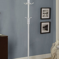 Monarch Specialties - Monarch Specialties 70 Inch Metal Coat Rack in White - Let this satin white metal coat rack enhance your home with excellent functionality. There is plenty coat, hat, glove and umbrella storage with 2 tiers of hooks. A beautiful finial adds a touch of class to this fashionable coat rack.