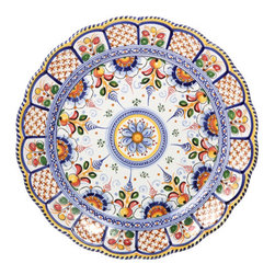 "Scalloped Spanish Majolica 15"" Decorative Platter - Scalloped Spanish Majolica 15"" Decorative Platter"