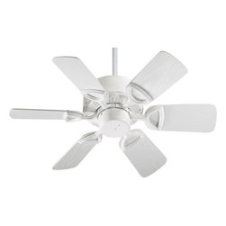 "Quorum International - Quorum International 143306-6 Gloss White Estate Patio 30 Traditional - The Estate Patio 30 Indoor Ceiling Fan Lifetime Motor Warranty Six ABS Blades, 30"" Blade Sweep 25-Degree Blade Pitch 4"" and 6"" Downrod Included 153 x 12 Motor Size 3 Speeds-Reversible 235/174/100 RPMS on H/M/L Remote Control Adaptable Detachable Switch Cup Sealed Vent Holes UL Wet Listed Cobblestone Comes With Weathered Pine Old World Comes With Walnut Blades, Gloss White Comes With White Blades"