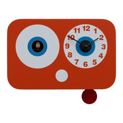 Progetti - Cucchino 2045 Orange Wall Clock - Wall cuckoo clock made in wood. Battery quartz movement. The Cuckoo strike is switched off automatically during the night controlled by a light sensor.