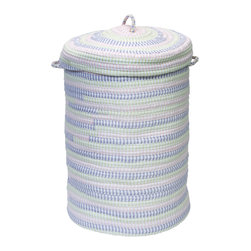 Colonial Mills - Ticking Stripe Laundry Hamper, Dreamland Pink - The perfect laundry hamper. Made of braided cotton blended with ticking stripe fabrics, this dreamland pink and pastel hamper is built for laundry, blankets, linens, toy storage and more. A charming nursery hamper.