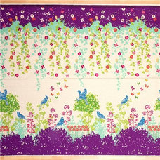 fabric echino canvas fabric Wish purple birds flowers