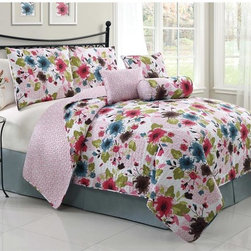 None - Natalie 6-piece Reversible Quilt Set - The Natalie Reversible Quilt Set adds an element of elegant decor to the bedroom with a bright floral print. Both comfortable and reversible, the polyester filled quilt set is conveniently machine washable.