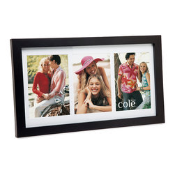 """Philip Whitney - 3 Photo Open Black Wood Frame With Matting, 4""""x6"""" - Achieve a simple, clean look in your home using this Open Black Wood Frame. Featuring plain black wood and white matting, this versatile frame can accommodate three different 4-by-6 inch photos. Sleek and unadorned, this frame works well with both bold and neutral color schemes."""