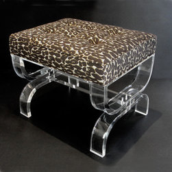 Mambo Bench with Leopard Brocade - Sexy with a stylish twist, this Lucite bench would be ideal in a vanity area. It could also be a great addition in any room that needs a little wow factor.