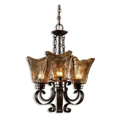 Uttermost - Vetraio 3-Light Oil Rubbed Bronze Chandelier - Heavy hand made glass is held in classic European iron works giving these pieces a contemporary quality, with strong traditional appeal as well.