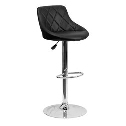 Flash Furniture - Flash Furniture Contemporary Black Vinyl Bucket Seat Adjustable Height Bar Stool - This dual purpose stool easily adjusts from counter to bar height. The bucket seat design will make this a great accent chair around the bar area or kitchen. The easy to clean vinyl upholstery is an added bonus when stool is used regularly. The height adjustable swivel seat adjusts from counter to bar height with the handle located below the seat. The chrome footrest supports your feet while also providing a contemporary chic design.