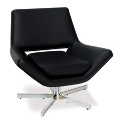 Ave Six - Oversized Chair in Black Vinyl - Add an element of sophistication to your home's decor with this retro vinyl arm chair, a stylish choice in a bold selection of color options that will be an attractive addition to your home's decor. The chair has a five-prong steel base and low profile arms that will be a dramatic choice for any room of your home.