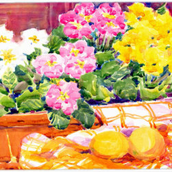 Caroline's Treasures - Flower - Primroses Glass Cutting Board Large Size - Large Cutting Board .. . Made of tempered glass, these unique cutting boards are some of your favorite artists prints. 15 inches high and 12 inches long, they will beautify and protect your counter top. Heat resistant, non skid feet, and virtually unbreakable!
