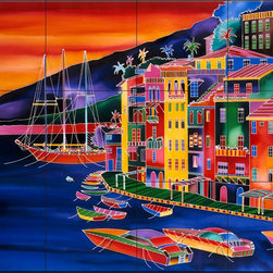 The Tile Mural Store (USA) - Tile Mural - Portofino Sunset - Rm - Kitchen Backsplash Ideas - This beautiful artwork by Ron Mondz has been digitally reproduced for tiles and depicts a colorful tropical scene  Waterview tile murals are great as part of your kitchen backsplash tile project or your tub and shower surround bathroom tile project. Water view images on tiles such as tiles with beach scenes and Mediterranean scenes on tiles Tuscan tile scenes add a unique element to your tiling project and are a great kitchen backsplash idea. Use one or two of our landscape tile murals for a wall tile project in any room in your home for your wall tile project.
