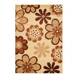 "Safavieh - Porcello Brown Area Rug PRL4812A - 8' x 11'2"" - Fun colors and fetching flower-petal floral designs give this rug a creative style that's sure to bring life to any room. Soft polypropylene fibers provide a dense pile, designed to withstand high-traffic living rooms, dining spaces and hallways."