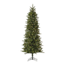 """Vickerman - Carolina Pencil Spruce 450CL (7.5' x 38"""") - 7.5' x 38"""" Carolina Pencil Spruce, 1043 tips, UL 450 Dura-Lit Clear Light, on/off switch step, in Bmv base, 19%PE, 81%PVC, 0.07+0.07+0.11 Thickness Dura-lit Lights utilize microchips in each socket so bulbs stay lit even when some bulbs are broken or missing."""