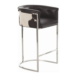 Arteriors Home - Arteriors Home Calvin Leather/Hide/Polished Nickel Barstool - Arteriors Home 275 - If you invite guests to pull up a seat and they pull up this one, they may never go home. It's much more than a barstool, it's an easy chair on steroids. The leather upholstery is stylish and elegant. The low back and curved box-style seating supports and cushions your body. Elevate your decor while you elevate your body.