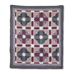 Patch Magic - Snowflake Log Cabin Throw - 50 in. W x 60 in. L. 100% Cotton. Handmade, hand quilted. Machine washable. Line or flat dry only