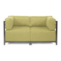 Howard Elliott - Sterling Willow Axis 2-piece Sectional - Titanium Frame - A Fashionable Pair! Lounge in style on a Sterling Axis Loveseat. Float the Sterling Axis Loveseat in your room for an intimate seating arrangement. Expand your loveseat with additional Chair, Corner or Ottoman Pieces. This Loveseat features boxed cushions with Velcro attachments to keep the cushions from slipping and looking their best all of the time. Your Sterling Axis 2 pieces Sectional will definitely turn heads with its sophisticated linen-like texture and vibrant color selection. This Sterling Willow piece is 100% Polyester finished in a soft burlap texture in a willow green color. 65 in. W x 32.5 in. D x 30 in. H