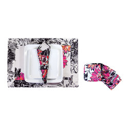 koi Design - Placemat Set - Serpentine - A sophisticated black and white floral print with splashes of bright color gives these place settings a cheerful, contemporary elegance. The set includes four cotton sateen placemats, four napkins with napkin rings, and eight coasters. They all come in a special matching pouch, which is great for storage but also makes this set a wonderful house-warming gift.