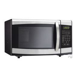 """Danby - .7 Cu. Ft., 700 Watts Microwave-Black w/ Stainless Steel - Danby's counter top microwaves are not only practical and economical, they're stylish too! Danby microwaves are well suited for the dorm room, office, cottage or kitchen.  0.7 cu. ft. (20 litre) capacity, 700 watts of cooking power,  Stylish black and stainless steel exterior,  10 power levels,  Simple one-touch cooking for 6 popular uses,  Easy to read LED timer/clock,  Electronic controls, Unit dimensions 17 5/16"""" W x 10 2/16"""" H x 14"""" D"""