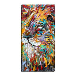 """DiaNoche Designs - Abstract Lion Illuminated Wall Art - Illuminated Wall Art by Dianoche Designs, brings continuous art 24 hours a day. Art during the day... flip a switch, and at night, it is a light! Art by Karen Tarlton - Abstract Lion. Dianoche Designs illuminates artwork from behind using LED's designed to last 50,000 hours. The """"Art Today, Light Tonight"""" concept gives each customer an opportunity to enjoy their artwork 24 hours a day! Dianoche Designs uses images from artists all over world and literally """"Brings to Light"""" their astonishing works. Your power cord can be hidden by a simple cable organizer or cable raceway, that commonly hides speaker wire on a wall. This can be purchased at any home improvement store and you can also paint over it."""