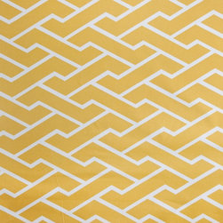 Mustard City Maze Fabric - Tightly woven cotton suitable for pillows, bedding, upholstery and curtains.