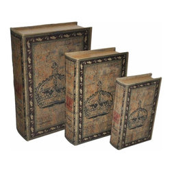 Cheung's - Lined Wooden Book Box - Set of 3 - Material: Wood and Linen. Color: Brown, Black and Red . Nested For space saving.  Linen Cover. Large: 13 in. L x 9 in. W x 3.5 in. H. Medium: 10.5 in. L x 7 in. W x 2.75 in. H. Small: 8.25 in. L x 5 in. W x 2 in. H. Weight: 5.5 lbs.