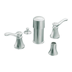 """Moen - Moen T5250 Chrome Bidet Faucet Trim Two Lever Handle 8""""-16"""" Center, ADA - Moen T5250 is part of the Vestige Bath collection. Moen T5250 is a new style bathroom, Bidet faucet trim. Moen T5250 has a Chrome finish. Moen T5250 two handle widespread Bidet faucet mounts in a 3-hole 8"""" - 16"""" Center bidet. Moen T5250 two handle widespread trim fits the MPact common valve system and requires Moen's 9200 MPact Bidet Rough-in valve to make this faucet complete. Moen T5250 is part of the Vestige bath collection with its richly detailed lines featuring nostalgic designs and accents that complement traditional decor for today's homes. Moen T5250 is not recommended for non-rim flush fixtures. Moen T5250 two lever handle provides ease of operation. Chrome is a proven finish from Moen and provides style and durability. Moen T5250 metal lever handle meets all requirements ofADA ICC/ANSI A117.1 and ASME A112.18.1/CSA B125.1, NSF 61/9 and proposition 6"""". Water Sense Certified. Lifetime Limited Warranty."""
