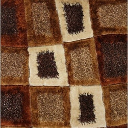 Rug Factory - Shaggy Design 45 Brown 2' x 3' Size Area Rug - Shaggy design 45 brown 2' x 3' size area rug. These shags offer a dense, shed free, easy to clean and sensuously soft surface that is sure to be a toe curling pleaser. Vibrant colors, geometric patterns and designs. are hand tufted using a blend of ultra fine raw materials for a plush and soft feel.