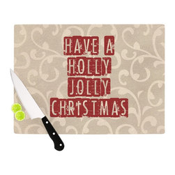 """Kess InHouse - Sylvia Cook """"Have A Holly Jolly Christmas"""" Holiday Cutting Board (11"""" x 7.5"""") - These sturdy tempered glass cutting boards will make everything you chop look like a Dutch painting. Perfect the art of cooking with your KESS InHouse unique art cutting board. Go for patterns or painted, either way this non-skid, dishwasher safe cutting board is perfect for preparing any artistic dinner or serving. Cut, chop, serve or frame, all of these unique cutting boards are gorgeous."""