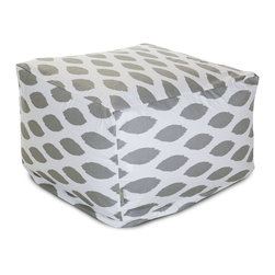 Majestic Home - Indoor Storm Gray Alli Large Ottoman - This awesome ottoman boasts all the comfort of a beanbag under a sophisticated print that kicks your casual setting up a notch in style. Use it as a footstool, coffee table or simply as a comfy seat and don't worries about spills or stains. The slipcover zips off for easy machine washing.
