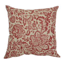 Pillow Perfect - Pillow Perfect 'Damask' Throw Pillow - Dress up your couch or bed with this damask throw pillow with warm tones of antique red and tan. This 16.5-inch square elegant accent pillow with knife edging has a comfortable polyester and cotton blend cover and luxe polyester fill.