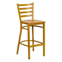 "FlashFurniture - Hercules Series Ladder Back Metal Restaurant Bar Stool with Wood Seat - Features: -Restaurant bar stool. -Heavy-duty construction. -Foot rest rung. -Ladder style back. -Two curved support bars. -Welded joint assembly. -Hand painted frame. -18 Gauge steel frame. -0.75"" Thick plywood seat. -Designed for Commercial Use; Suitable for Home Use. Specifications: -Seat dimensions: 16"" W x 16.5"" D. -Back dimensions: 13"" H x 16.5"" W. -Overall dimensions: 42.25"" H x 18.25"" W x 19.5"" D."