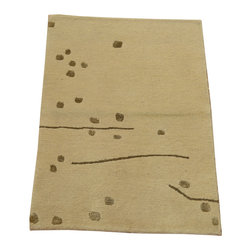 1800-Get-A-Rug - Oriental Rug Wool and Silk Ivory Modern Mat Hand Knotted Rug Sh12278 - About Modern & Contemporary