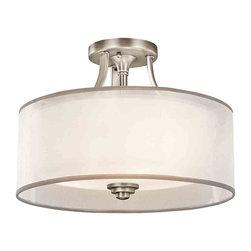 Kichler Lighting - Kichler Lighting 42386AP Lacey Antique Pewter Semi-Flush Mount - Kichler Lighting 42386 Lacey Semi-Flush Mount