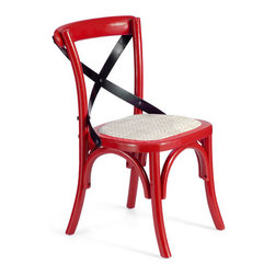 ZUO - Baby Larkin Chair - Red & Straw Cushion - Boasts a rattan seat that meets curving legs and a slashing back. The Baby Larkin Chair is a bold descendant of your great grandma's kitchen. Adds a bright, retro touch to any decor.