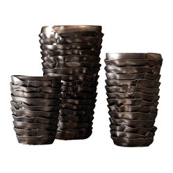 Clay Studio Ripples Modern / Contemporary Vase (Pack of 3)