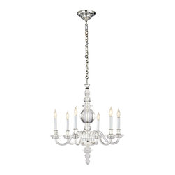 "Visual Comfort - George II Small Polished-Silver Chandelier - Visual ComfortGeorge II Small Polished-Silver ChandelierDetailsDesigned by Earl F. (Sandy) Chapman for Visual Comfort.Handcrafted of hand-blown crystal with polished-silver accents.Uses six 60-watt bulbs.Professional installation recommended.Due to the nature of silver finish item will patina over time.22""Dia. x 23.5""T; ceiling canopy included.Imported"