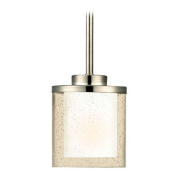 Dolan Designs Lighting - Modern Mini-Pendant Light with Clear Seedy and White Glass Shades - 2951-09 - The rain-like texture of seeds and the smoothness of satin nickel work together in a contemporary, minimalist mode in this fixture by Dolan Designs. From their Horizon collection, this mini-pendant ceiling light features a glass cylinder shade given a seeded treatment all-around, plus a satiny, white-toned warmth added to the center. A two-tier cap and long stem finished in gleaming satin nickel complete this attractive addition to your breakfast nook or studio apartment. Measuring 5 inches wide by 14-3/4 inches tall. Takes (1) 100-watt incandescent A19 bulb(s). Bulb(s) sold separately. UL listed. Dry location rated.