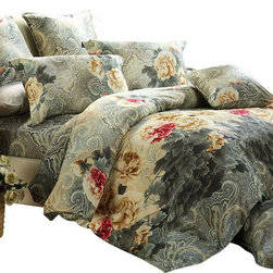 Dolce Mela - Paisley Design Duvet Cover Set Luxury Bedding Dolce Mela DM452, Queen - Decorate your bedroom with this gorgeous paisley design bedding set; and infuse your bedroom with chic style and beautiful, serene colors.