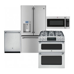 """GE Cafe - CYE23TSDSS 36"""" Counter-Depth French Door Refrigerator 4-Piece Stainless Steel Ki - The GE Cafe CYE23TSDSS 24 Cu Ft French door ice and water counter-depth refrigerator in stainless steel makes it possible to have the look of a built-in without the added expense This refrigerator features Precise Fill and hot water in the dispenser ..."""