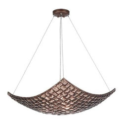841340-4ST Pendant Constructivism - Pendant of individually cast Twilight sherry glass pillow-shaped pieces, fused at high temperature in a hand-laid cobblestone pattern. The individual lenses create a fascinating light diffuser & sculptural form. Exposed metal in hand rubbed bronze.