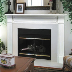 Pearl Mantels - Pearl Mantels Berkley Wood Fireplace Mantel Surround - 520-48 - Shop for Mantels and Trim from Hayneedle.com! Add a simple yet elegant feel to your fireplace with the charming Pearl Mantels Berkley Wood Fireplace Mantel Surround. Made of long-lasting MDF this mantel is economical and stylish at the same time. It's primed and ready for paint and will beautifully complement your living room decor. Mantel Surround Dimensions 48 in. A. Shelf length 62 in. B. Interior width 48 in. C. Interior height 42 in. D. Width to outside leg at base 58 in. E. Overall height 52 in. F. Shelf depth 8 in. G. Leg Depth 3 in. About the Pearl InlayPearl Mantels now include a discrete authentic pearl-style inlay on each of their pieces. Your Pearl Mantel may or may not include this feature depending on purchase date. Please contact our Customer Care Center with any questions. About Pearl Mantels Inc. Pearl Mantels Inc. believes in business based on honest value quality products and personal service - even contacting clients directly to evaluate their needs and develop leading-edge solutions. Pearl also believes mantels are the emotional core of rooms representing heritage and tradition and displaying precious heirlooms. Each Pearl mantel boasts exclusive detail and classic design all at an affordable price. Plus a variety of finish options ensures Pearl Mantels Inc. indeed has a mantel for every hearth. Wood and MDF are combustible. Please review heat clearance specifications before installation. Consult your local building codes and manufacturer information regarding your specific insert or stove.
