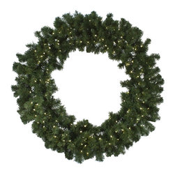 """Seasonal Source - 60"""" Oregon Fir LED Wreath, 200 Warm White LED Lights - Our 60"""" diameter commercial quality holiday wreath is full and luxurious.  Each wreath is pre-decorated with 200 LED lights."""
