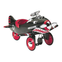 Airflow Collectibles - Pedal Plane Shark Attack - All Metal Pedal Plane Shark Attack Ride On toy for kids