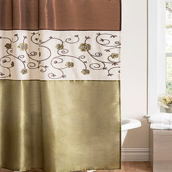 Lush Décor - Royal Garden Green Shower Curtain - The embroidered flowers of this lovely shower curtain bloom right off its faux silk surface. The extra texture will grow a new sense of regal refreshment for your bathroom.   100% polyester Dry clean Imported