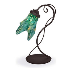 Mathews & Company - Wrought Iron Wild Vine Table Lamp with Glass Shade - Our Contemporary style wrought iron Wild Vine Table Lamp with Glass Shade is a beautiful piece of hand-crafted home furniture. Lamp is UL Approved and pre-wired, all you have to do is add a light bulb and plug it in to start enjoying its warm light. Pictured in Turquoise shade and Black finish.