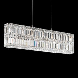 "Schonbek Quantum Silver 35 1/2"" Wide Crystal Chandelier - This bedazzling chandelier has a contemporary rectangular shape but is crafted from gorgeous Swarovski crystals. It comes in a bunch of different shapes and sizes."