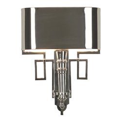 Kathy Kuo Home - Pasadena Hollywood Regency Polished Nickel Deco Style Sconce - This art deco sconce adds a pop of panache to any hallway, entrance or wall. Crafted from solid brass, this geometric sculpture is finished in polished nickel, reflecting the two lights encased in the shield shade. The hardwired fixture is perfectly proportioned for narrow areas that need lighting without sacrificing  style.