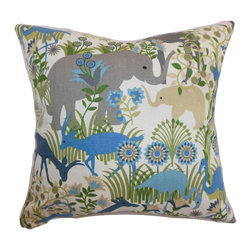 "The Pillow Collection - Caprivi Flora & Fauna Pillow Blue Haze - A rich and lively scene is depicted in this throw pillow. This accent pillow features a flora and fauna print pattern in a blue haze color palette. Shades of blue, green, natural, grey and white colors are blended to make this a gorgeous statement piece. Place this 18"" pillow on your favorite chair, bed or floor. This contemporary pillow is made from high-quality materials: 95% cotton and 5% linen. Hidden zipper closure for easy cover removal.  Knife edge finish on all four sides.  Reversible pillow with the same fabric on the back side.  Spot cleaning suggested."