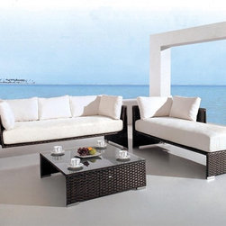Limba Signature Patio Sofa Set - Innovative styling and extra soft padded seating showcase this Limba Signature Patio Set.